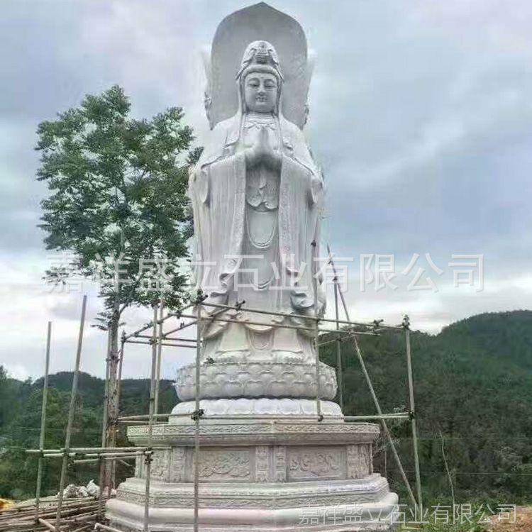 供应滴水观音神像 汉白玉三面观音像 寺庙石雕佛像