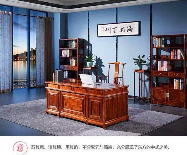 石家庄红木家具1.8米豪华办公台生产厂家 名琢世家