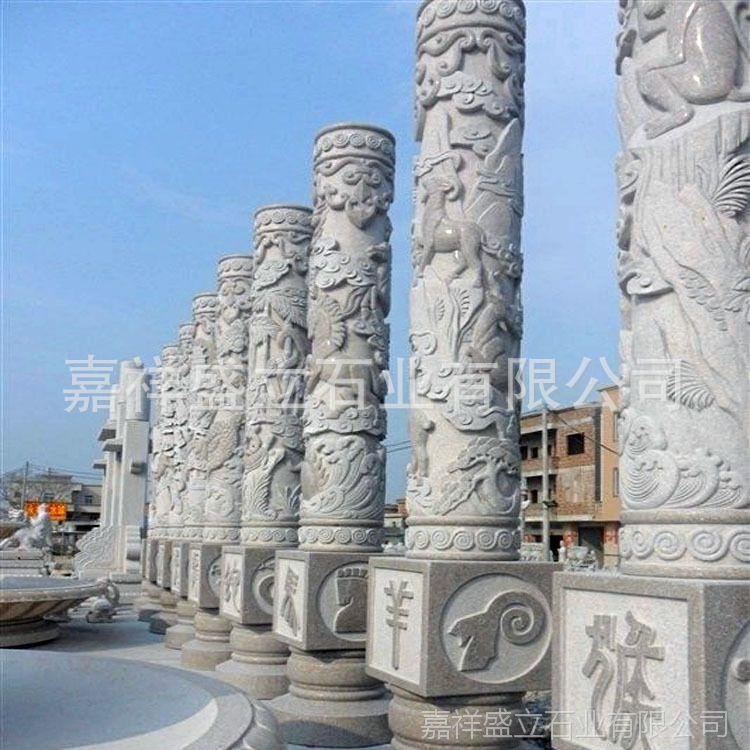 厂家直销石雕龙柱 广场寺庙龙柱 双龙石柱 石雕龙柱厂家