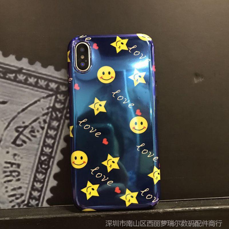 【新款英雄表情iPhoneX手机壳苹果8plus蓝搞笑动图版漫威笑脸q图片