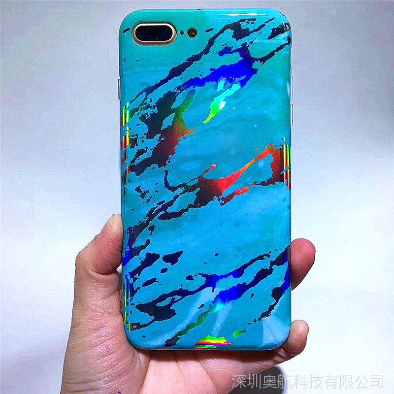 Iphone6 6S 7 8 7puls 8puls iphoneX镭射大理石纹手机保护套