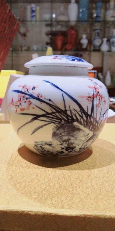手绘陶瓷罐青花瓷罐食品罐包装罐礼品罐蜂蜜罐枣罐米罐药罐