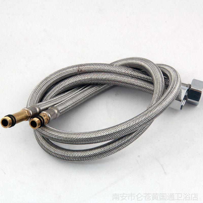 卫浴厂家 304不锈钢全钢丝软管 面盆单孔水龙头尖头冷热进水管