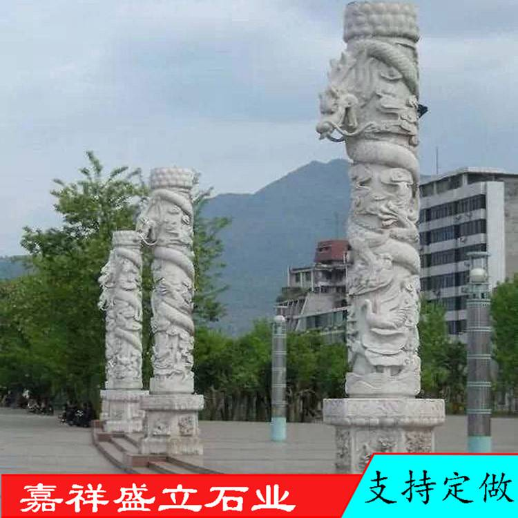 青石雕刻广场文化柱 华表盘龙柱雕刻 专业厂家