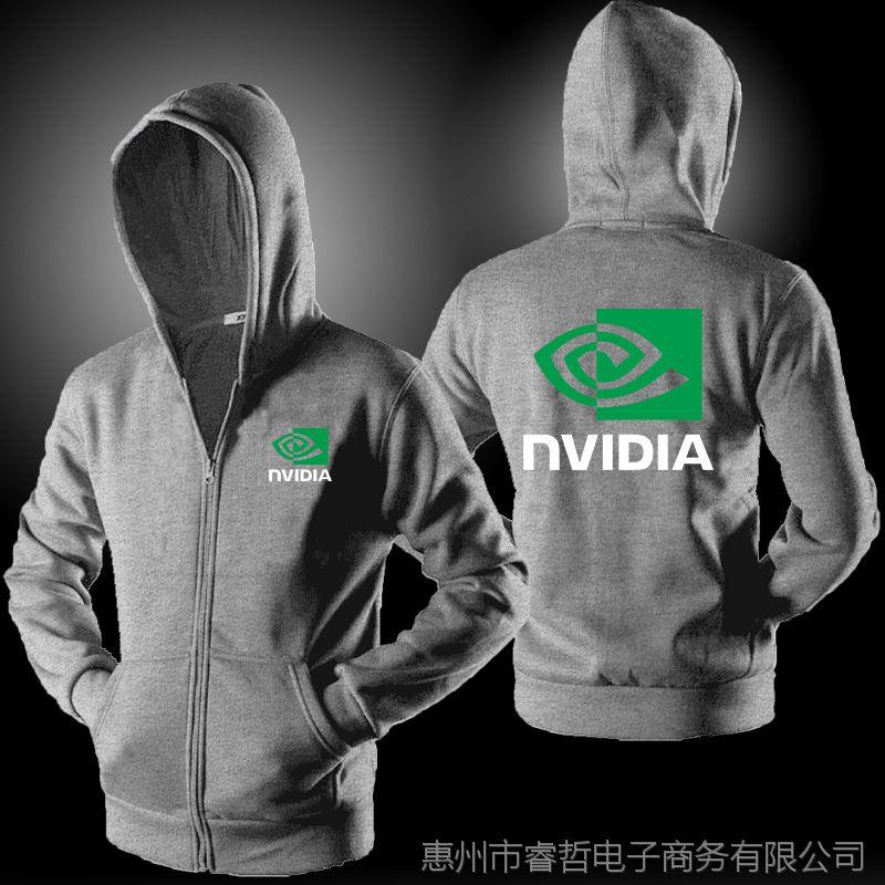外贸款AMD NVIDIA 英伟达男士短袖长袖连帽拉链卫衣