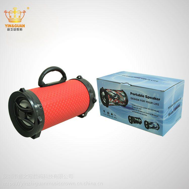热销手提大功率蓝牙炮筒USB插卡木质圆筒音箱工厂OEM
