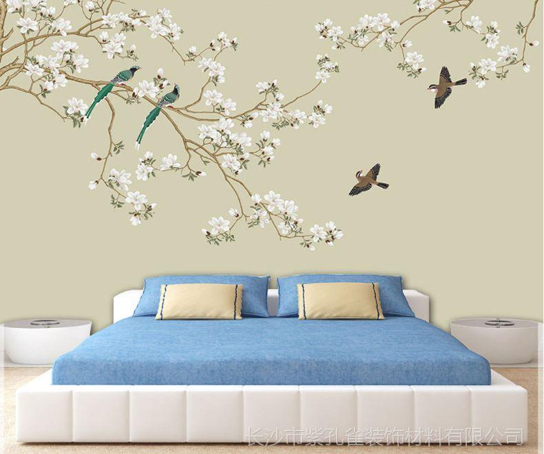 2018新款新中式花鸟大型整张壁画客厅卧室无缝墙布办公室壁布墙纸