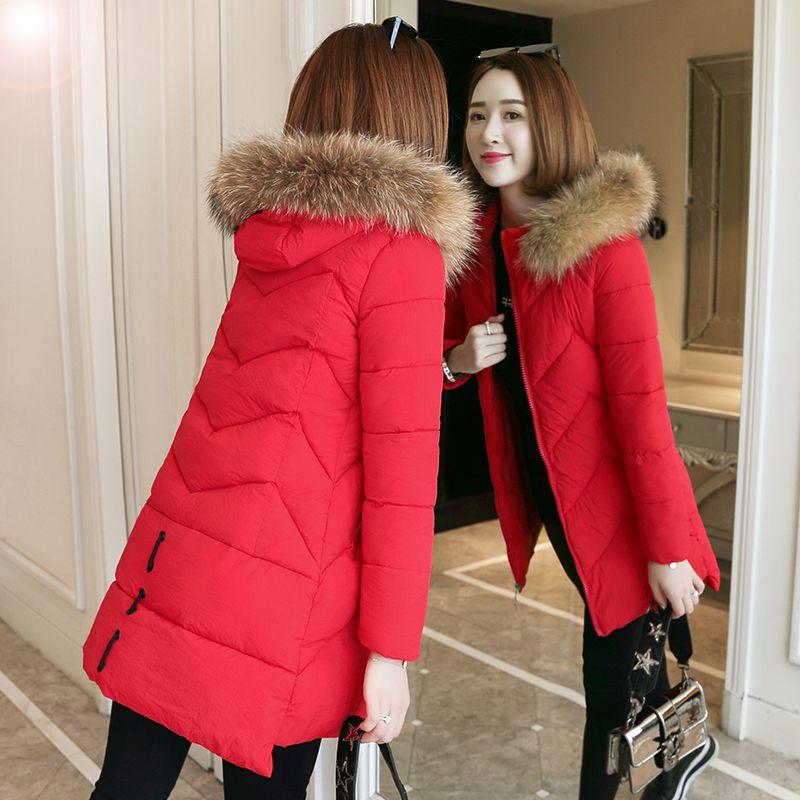 羽绒服女中长款加厚外套女学生韩版冬季新款面包服毛领连帽潮流