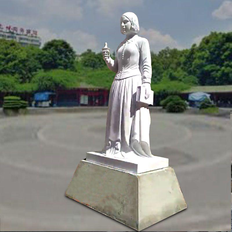 石雕人物汉白玉站式纳丁格尔历史名人人物肖像雕塑户外医院景观装饰摆件曲阳万洋雕刻厂家定做