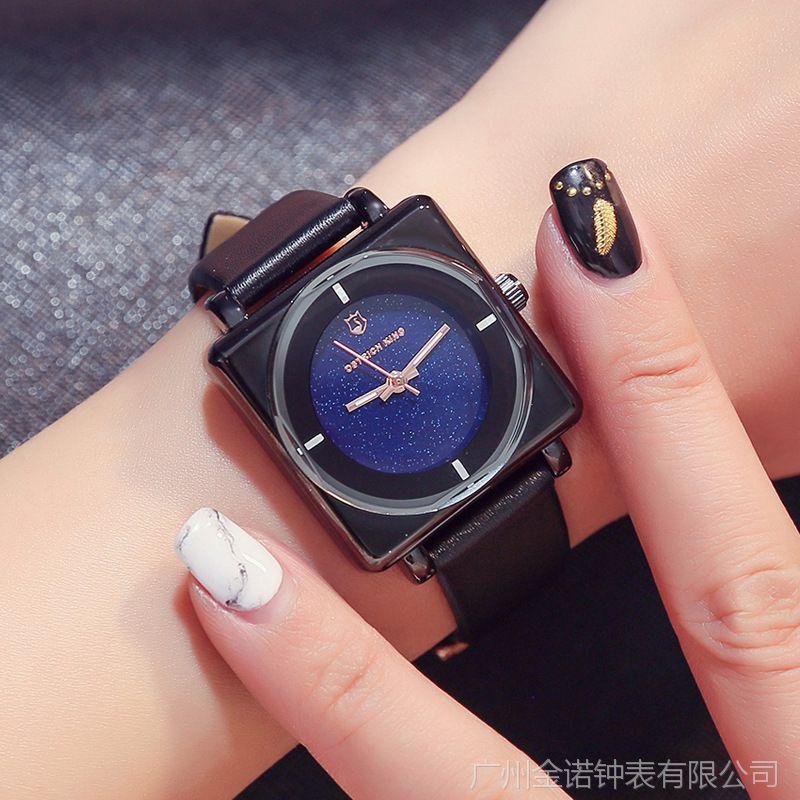 鸵鸟王 2018新款方形皮带手表女简约韩版气质女士时装表休闲大气