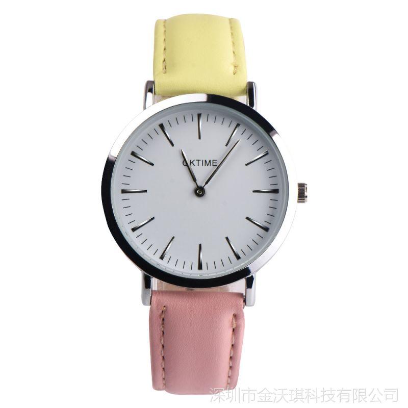 爆款 OKTIME时尚休闲女表两针简约表盘学生腕表防水石英手表皮带