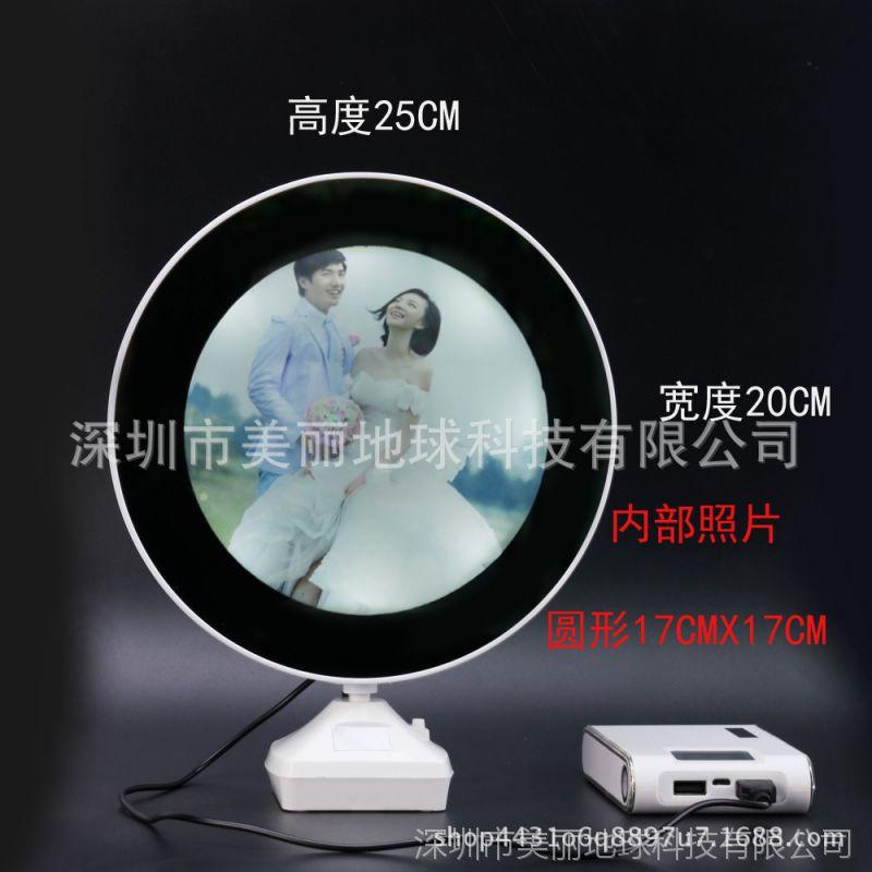 照片墙10寸摆台魔镜圆形相框3d插电床头台灯影楼个性婚纱照九宫格