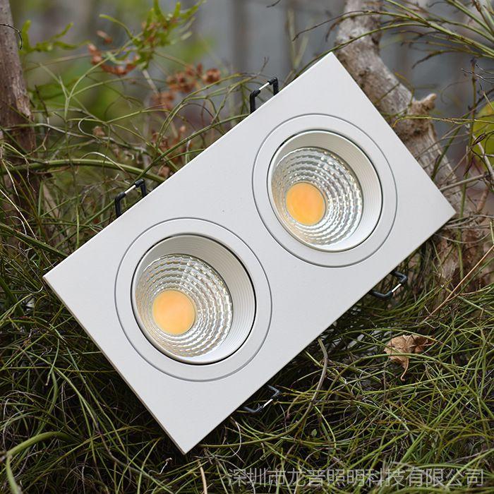 欧美式纯白色方形筒灯射灯单头双头COB天花灯格栅射灯斗胆灯