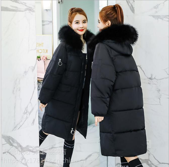 厂家直销2018秋冬女装韩版短款棉服女士外套修身中长款棉衣棉袄外套地摊货源