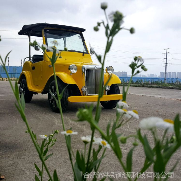 供应 AS-004 4人座柠檬黄四轮电动观光车复古接待车电瓶车电动老爷车