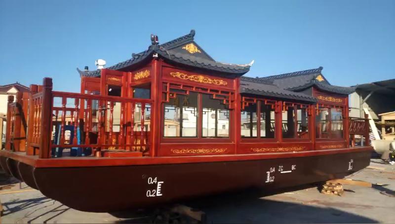 木船厂家纯手工定制文化古典画舫船电动观光游船