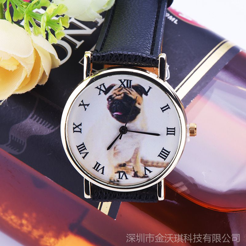 2015年9月新款可爱小狗手表 时尚休闲小清新皮带男女儿童石英表