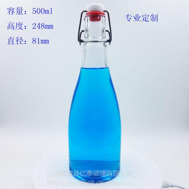 500ml高白料蒙砂白酒瓶山东菏泽郓城亿泰厂家直销一斤装酒瓶烤花喷釉玻璃瓶
