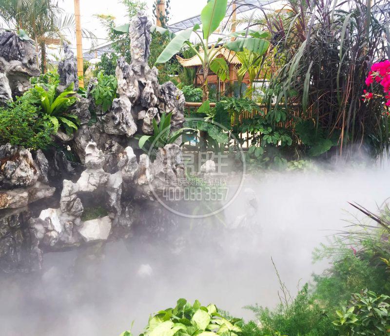 西安人造雾景观厂家园林景区喷雾降温造景人造假山湖景降温造景