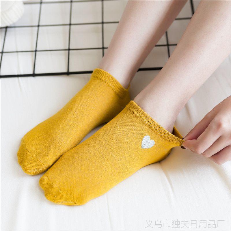 春夏短袜日系金线爱心刺绣女士船袜隐形 潮流全棉浅口短袜低帮