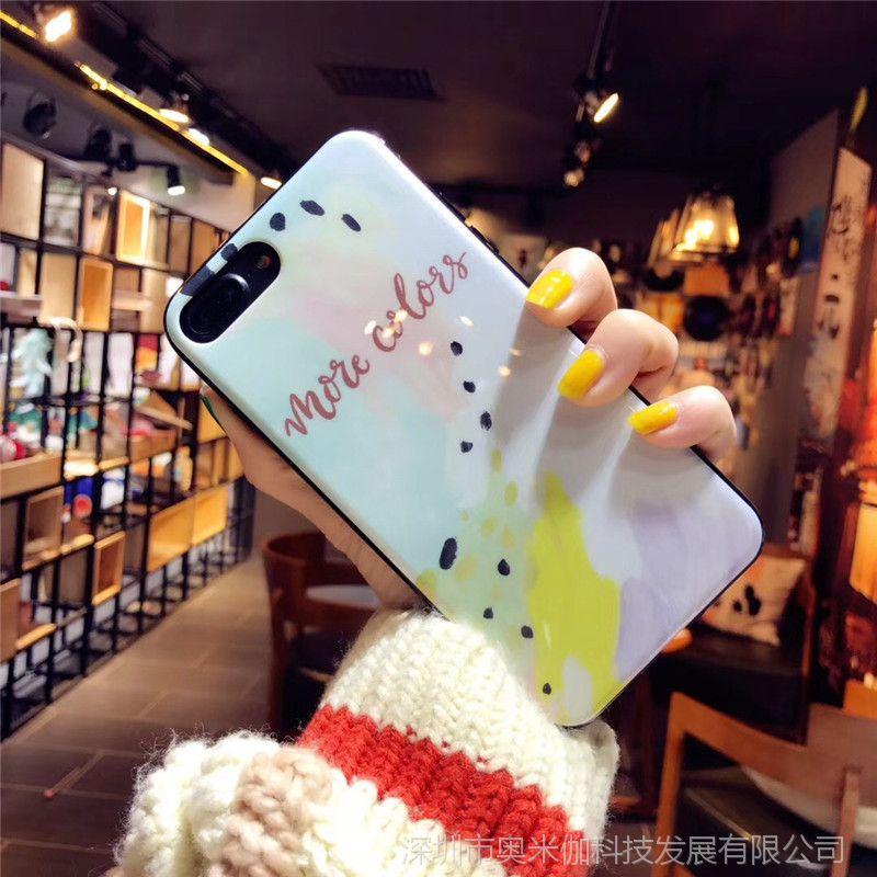 网红同款苹果x手机壳8plus新款闪粉6s韩国7p潮牌iphone6镜面涂鸦7