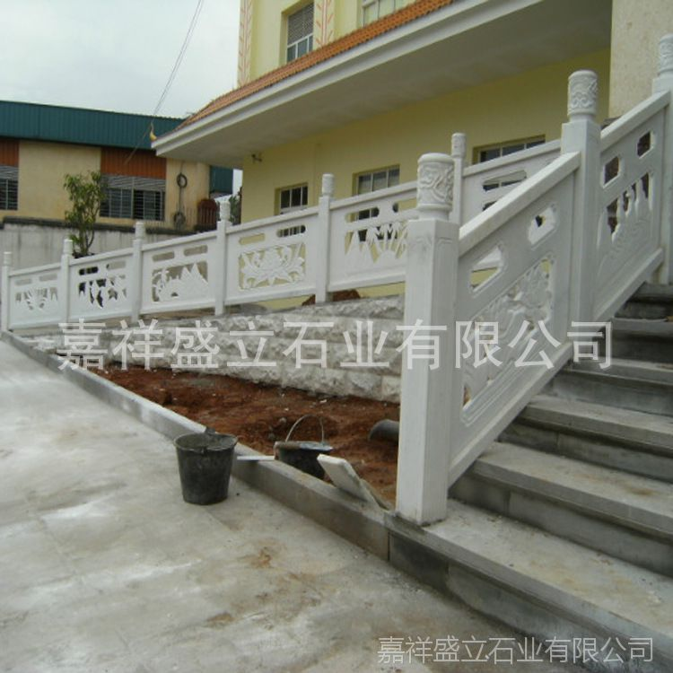 供应精雕镂空石栏杆栏板 汉白玉桥梁栏杆 别墅石护栏