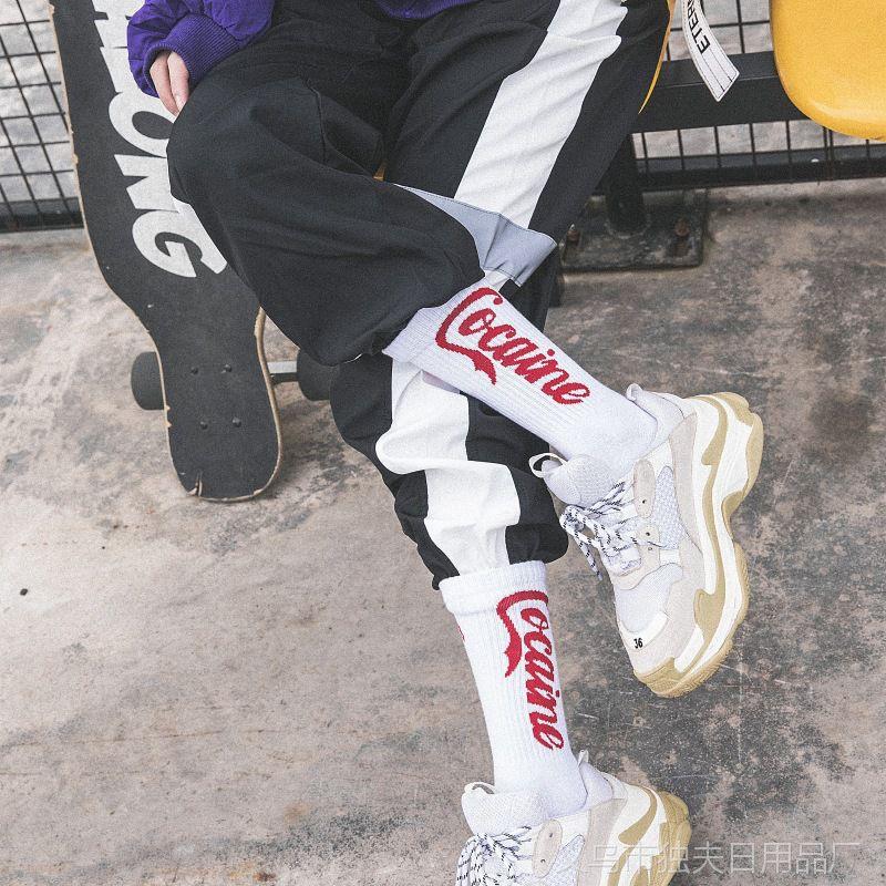 欧美街头潮袜男女情侣袜子 学院风中筒可乐字母运动纯棉长筒袜子