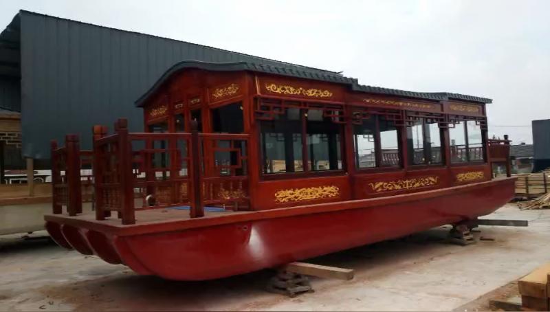 厂家定制景区10米观光玻璃钢画舫船防水木船低价格