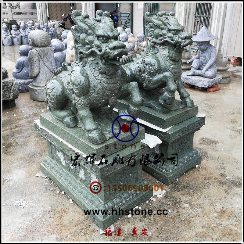 手工雕制青石麒麟含座一米高