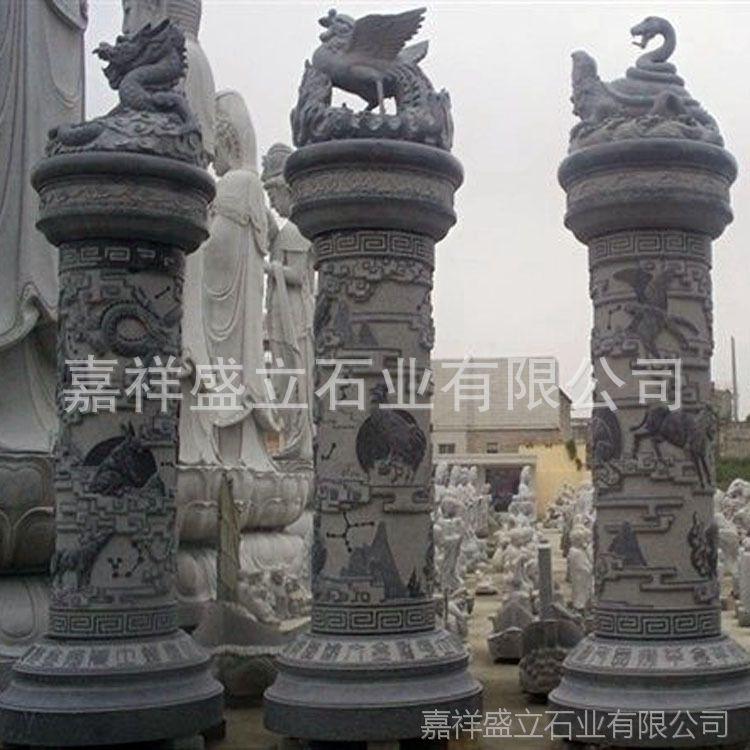 加工石雕盘龙柱 十二生肖文化柱 大理石罗马石柱子