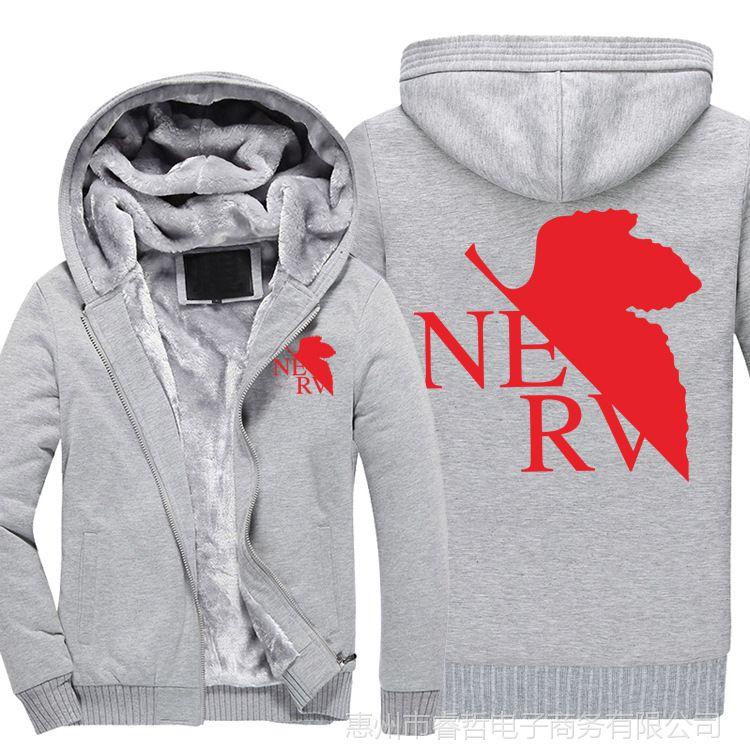 NERV新世纪福音战士周边衣服男长袖卫衣冬季加绒加厚衣服