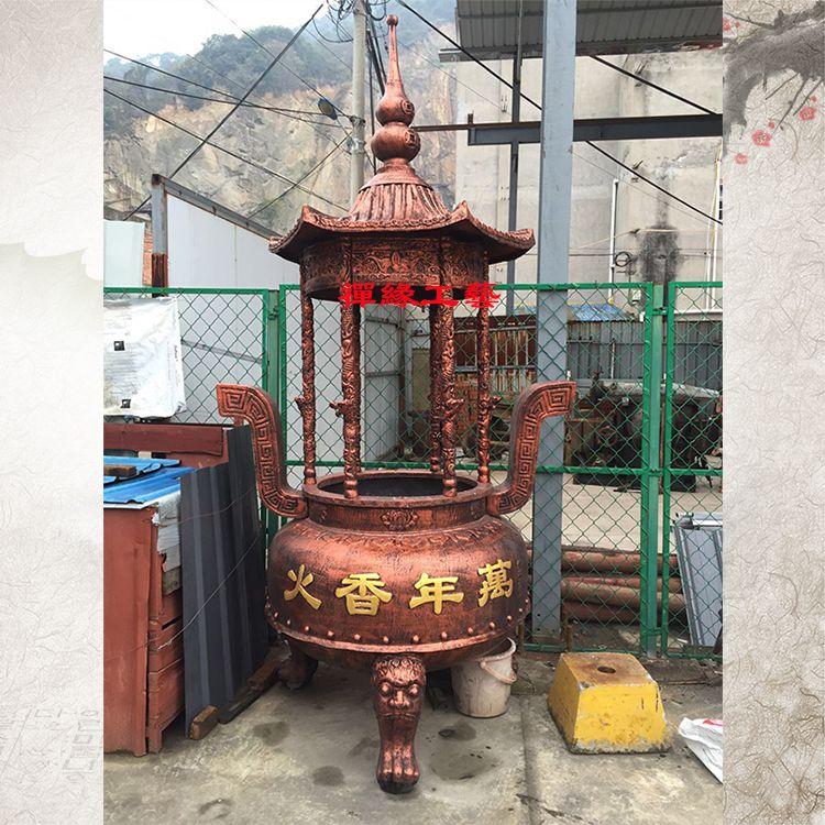 铸铁圆形六龙柱香炉 江西赣州宫观香炉供应商