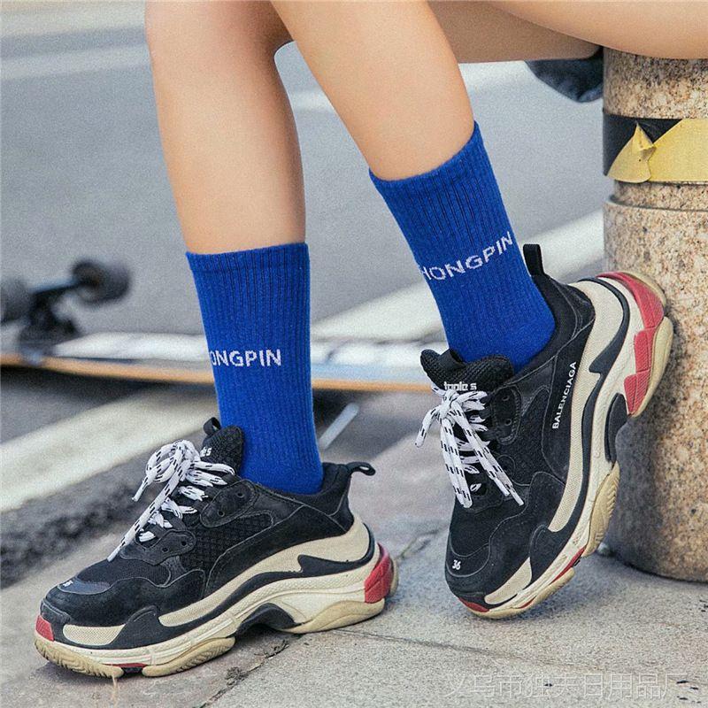 秋冬新款彩色袜子 中筒长袜潮袜女士字母竖条运动休闲紫色棉袜