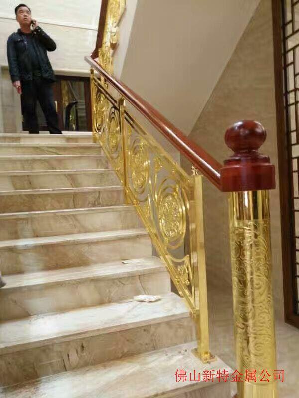 高安仿古铜楼梯新设计铜楼梯镜面镀金护栏图