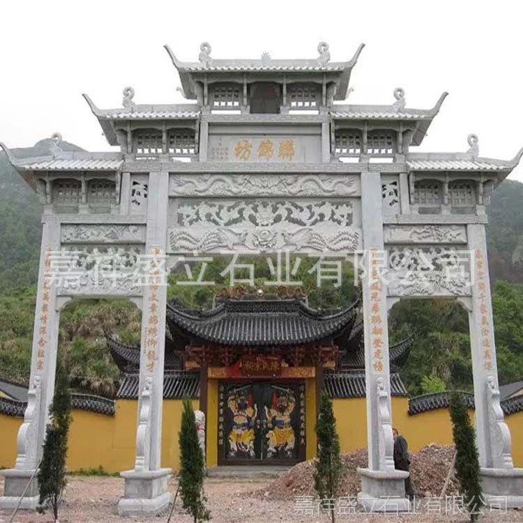 村庄景区入口山门石材牌坊定做 五楼精湛大理石雕刻门楼