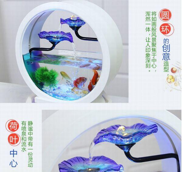 流水摆件陶瓷现代欧式客厅室内家居装饰品吉祥玻璃鱼缸开业送礼品