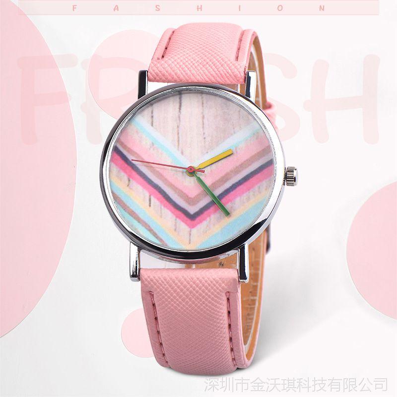 韩版时尚百搭 OKTIME彩色木地板时装手表女表小清新学生手表批发