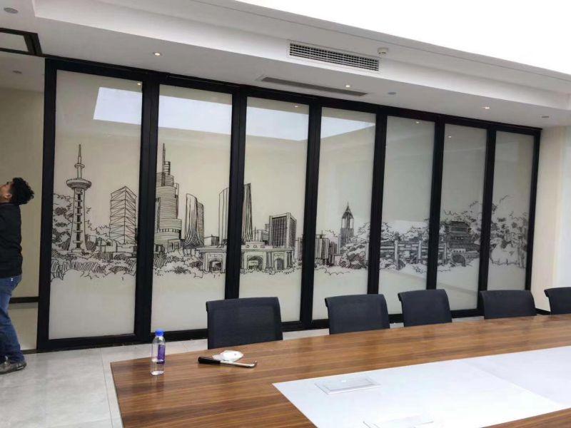 会议室活动调光玻璃隔断墙 可做各种山水画
