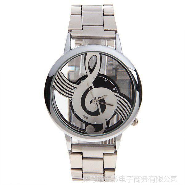 速卖通爆款 韩版个性镂空音乐手表 商务时尚休闲男士钢带手表批发