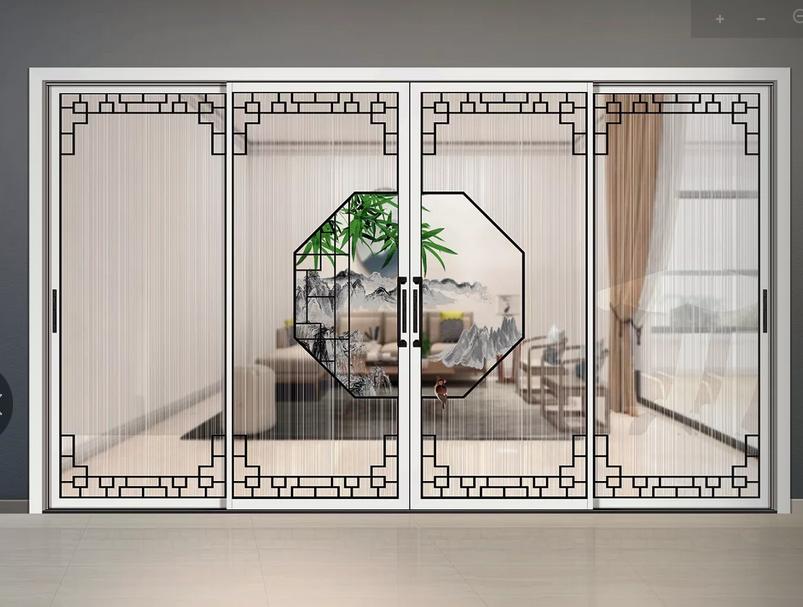 铝合金玻璃门广东铝合金门厂新中式工艺门
