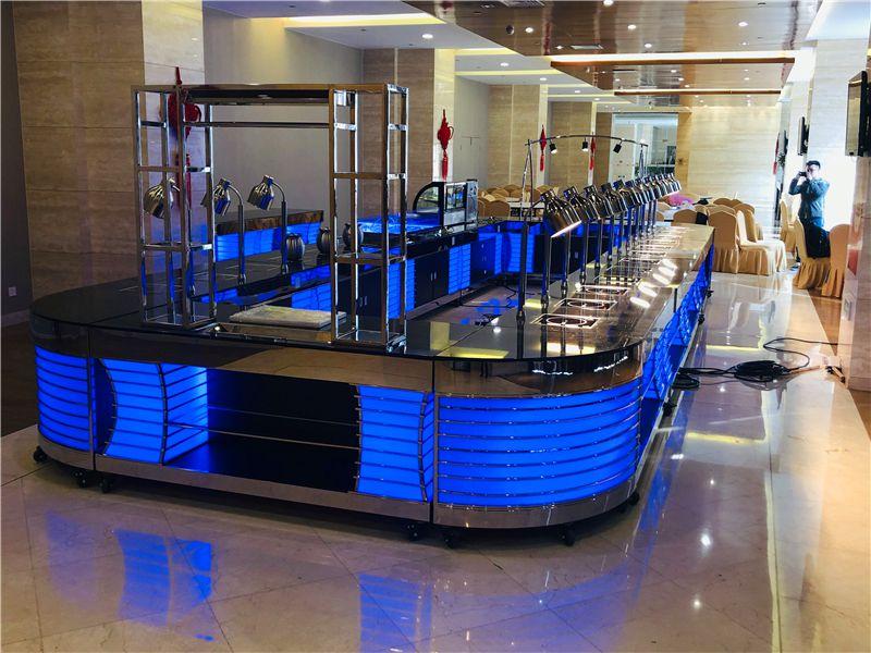 酒店移动不锈钢可发光布菲台定制设计  不锈钢自助餐台设计制作