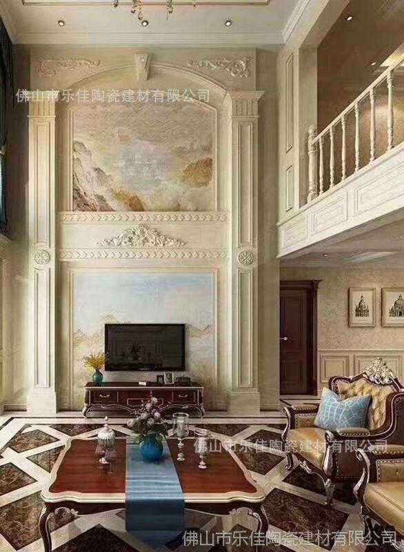 复式大理石罗马柱电视背景墙瓷砖微晶石欧式客厅石材边框整饰造