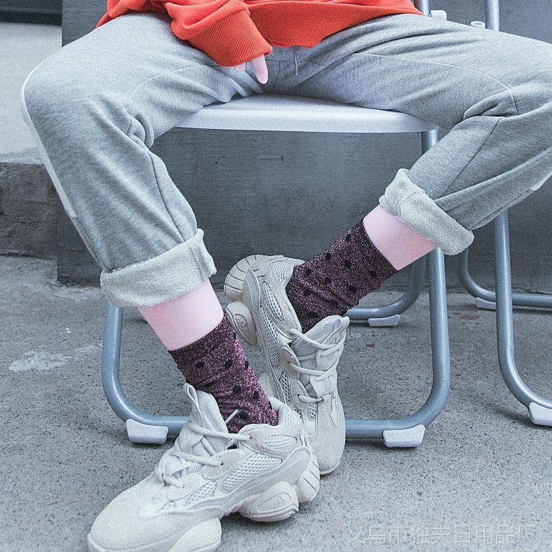 新品秋冬季堆堆袜金银丝波点中筒袜子韩国珠光女潮棉袜圆点长袜子