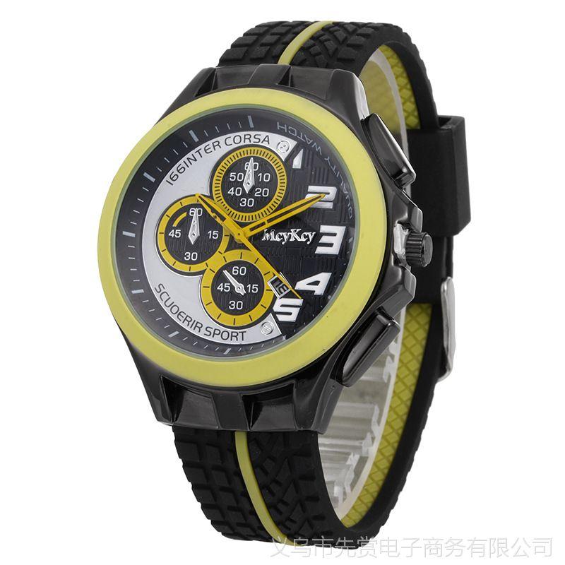 速卖通新款男表男款男士手表硅胶带日历石英表运动防水手表批发