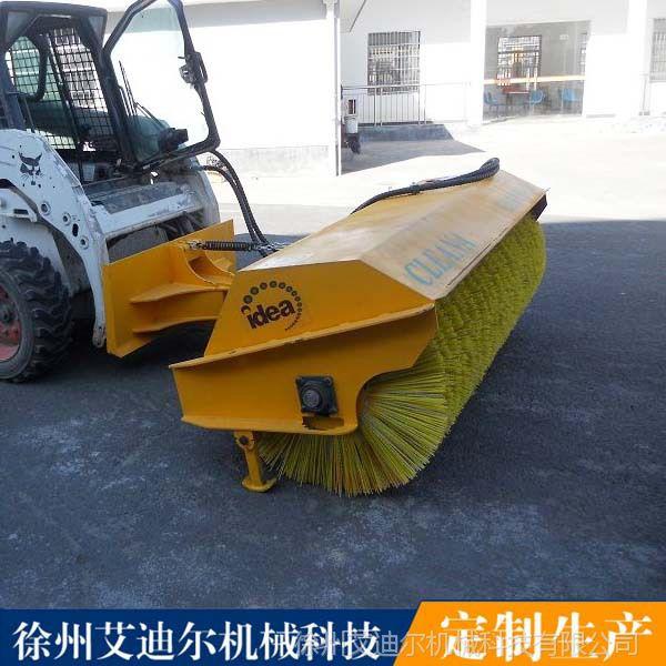 液压驱动的斜角扫雪滚刷清扫器可以安装在滑移装载机 斜角扫雪机