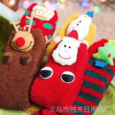 圣诞礼品亲子袜秋冬珊瑚绒加厚卡通袜子防滑保暖可爱圣诞袜毛圈