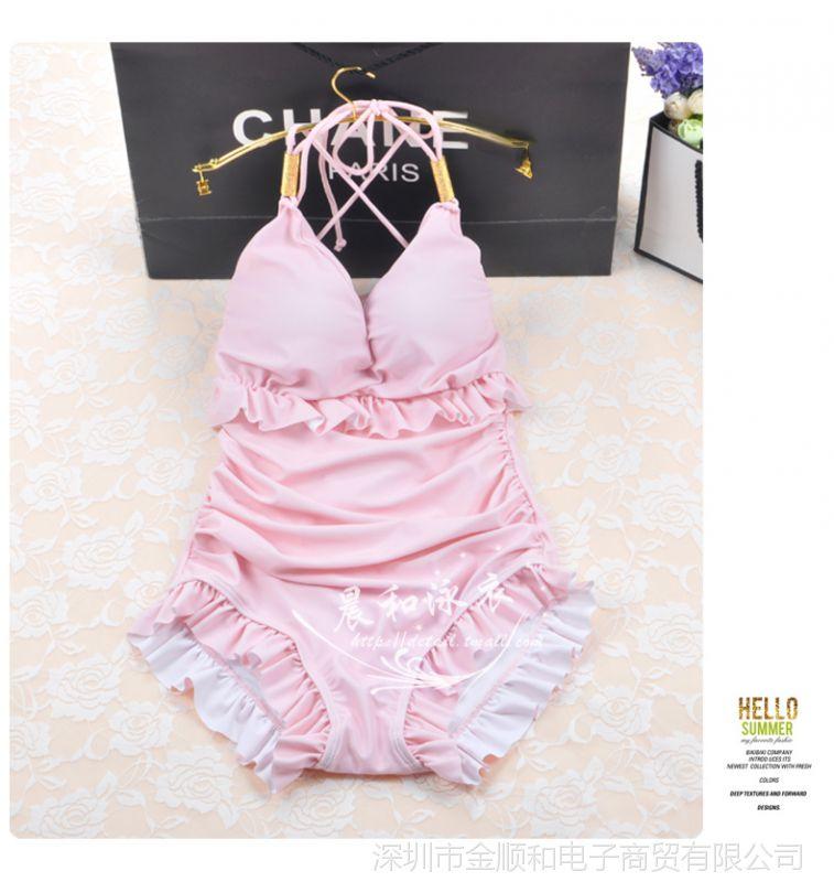JSH韩国聚拢钢托上衣女性感遮肚大胸小胸连体蕾丝性感泳衣图片