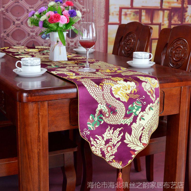 新现代中式古典桌旗仿云锦祥龙餐桌旗高密提花桌旗一件代发
