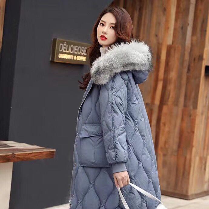 狐狸大毛领羽绒服 广州健凡服饰折扣女装一手货源