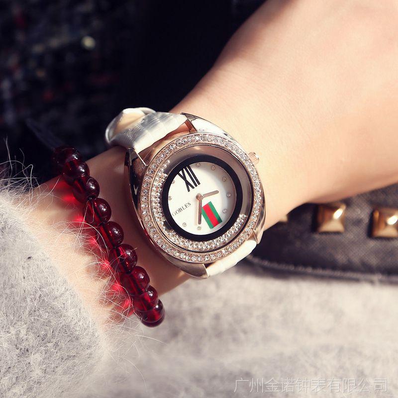 欧洲站大牌时尚潮流水钻手表女学生韩版休闲镶钻走珠皮带女表批发